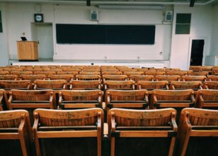 a classroom of empty chairs