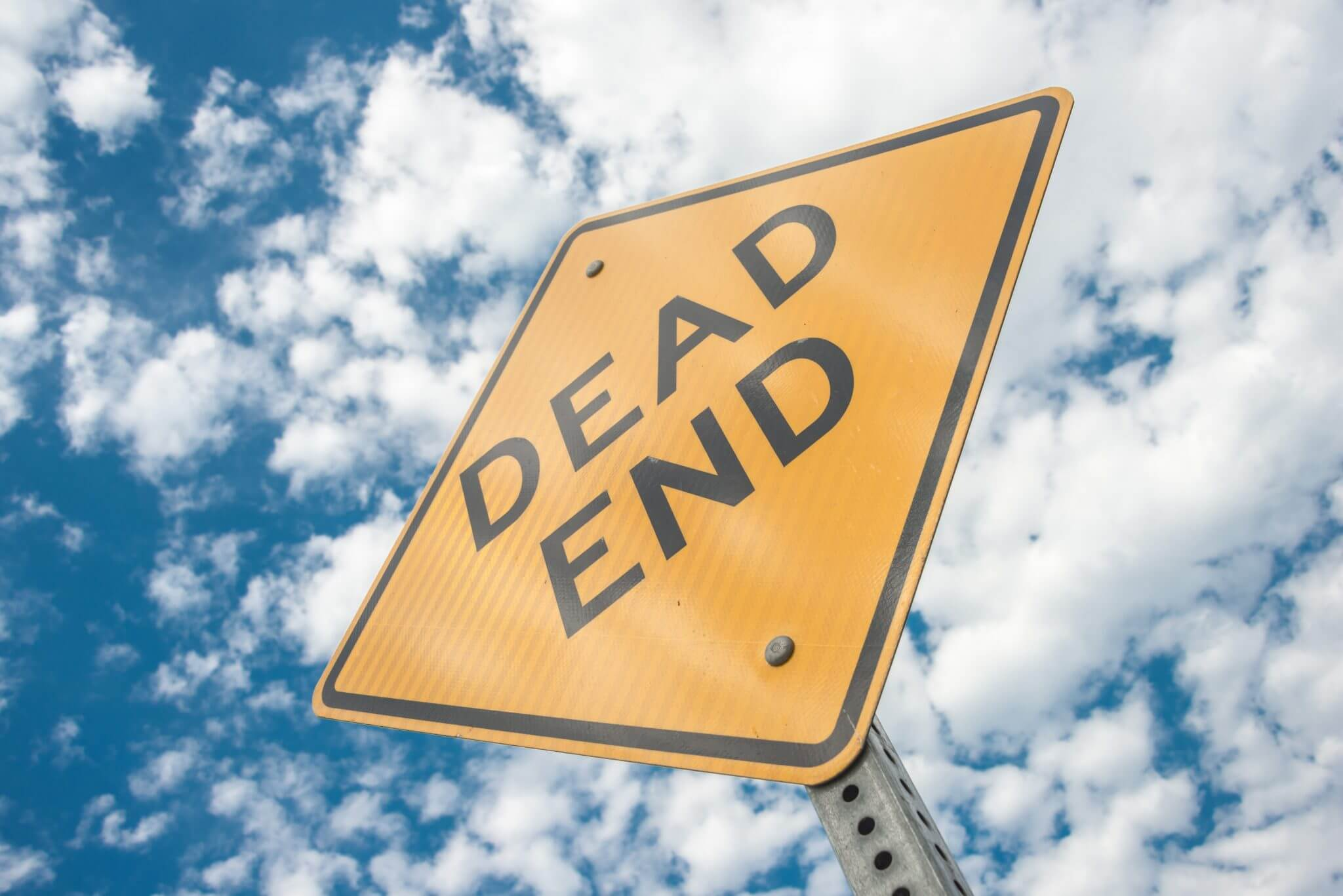 Dead End Street sign perspective from below.