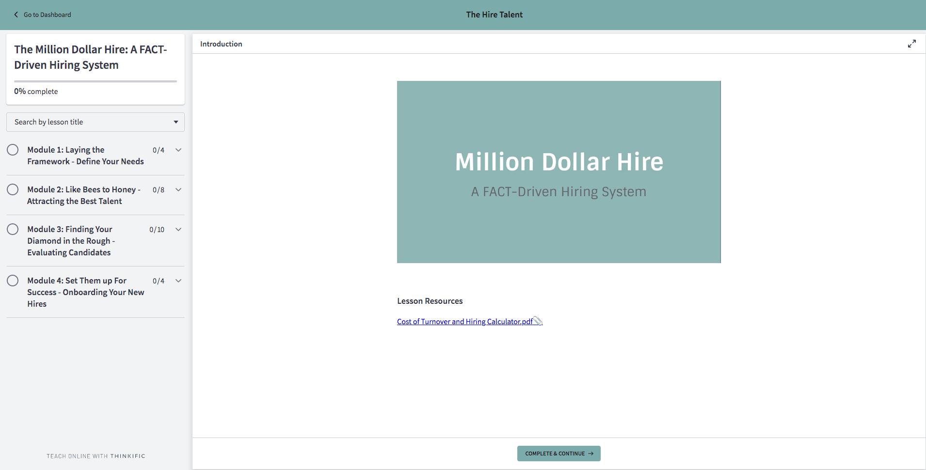 Million Dollar Hire Online Course